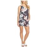 1.STATE Womens Floral Print One Shoulder Romper Jumpsuit