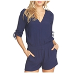 1.STATE Womens Drawstring Sleeve Romper Jumpsuit