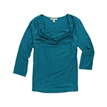 JM Collection Womens Cowl Rhinestone Knit Blouse