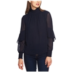 1.STATE Womens Chiffon Mock Neck Pullover Blouse