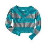 Aeropostale Womens V-neck Stripe Stretchy Cropped Ted Knit Sweater