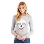 Aeropostale Womens Heart Skull Knit Sweater