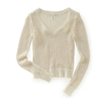 Aeropostale Womens Solid Cable V Neck Knit Sweater