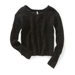 Aeropostale Womens Sheer Cropped Knit Sweater