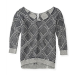 Aeropostale Womens Brindled Diamond Knit Sweater