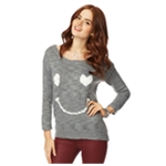Aeropostale Womens Loose Heart Smile Knit Sweater