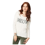 Aeropostale Womens Meow Text Knit Sweater