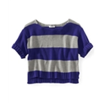 Aeropostale Womens Stripe Wide-fit Cropped Knit Sweater