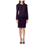 Tahari Womens Asymmetric Zip Peplum Skirt Suit