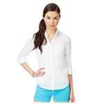 Aeropostale Womens Crinkled Embellished Button Up Shirt