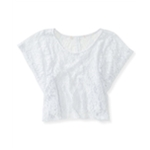 Aeropostale Womens Sheer Cropped Lace Basic T-Shirt