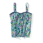 Aeropostale Womens Banded Floral Woven Tank Top