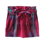 Aeropostale Womens Plaid Belted Pleated Skirt