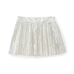 Aeropostale Womens Cotton Metallic Side-zip Pleated Skirt