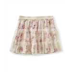 Aeropostale Womens Floral Overlay Lace Mini Skirt