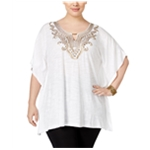 JM Collection Womens Embellished Keyhole Pullover Blouse