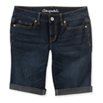 Aeropostale Womens Cuffed Dark Wash Casual Bermuda Shorts