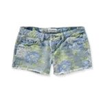 Aeropostale Womens Faded Floral Cut Off Casual Denim Shorts