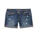 Aeropostale Womens Medium Wash Boyfriend Casual Denim Shorts