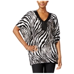 JM Collection Womens Zebra Beaded Tunic Blouse