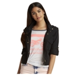 Aeropostale Womens Cropped Zip Military Jacket