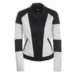 Aeropostale Womens Leather Canvas Colorblock Motorcycle Jacket