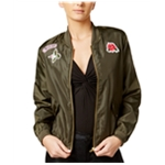 Material Girl Womens Patch Bomber Jacket