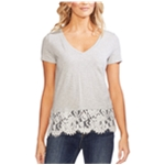 Vince Camuto Womens Lace Border Embellished T-Shirt