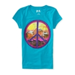 Aeropostale Girls Glitter Peace Graphic T-Shirt