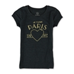 Aeropostale Girls Je Taime Glitter Graphic T-Shirt