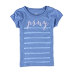Aeropostale Girls Glitter Striped Graphic T-Shirt