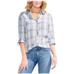 Vince Camuto Womens Plaid Button Up Shirt