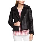 Vince Camuto Womens Faux-Fur-Trim Motorcycle Jacket