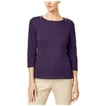 Karen Scott Womens Zip-Shoulder Pullover Sweater