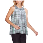 Vince Camuto Womens Plaid Sleeveless Blouse Top