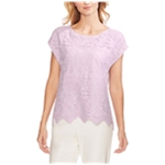 Vince Camuto Womens Lace Overlay Pullover Blouse