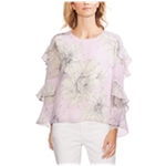 Vince Camuto Womens Tiered-Sleeve Blossoms Ruffled Blouse