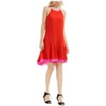 Vince Camuto Womens Sleeveless Halter Color Blocked Midi Dress