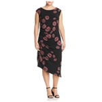 Vince Camuto Womens Floral Ruched Bodycon Dress