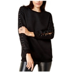 Glam Womens Laced-Sleeve Pullover Sweater