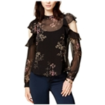 ASTR The Label Womens Chantelle Sheer Knit Blouse
