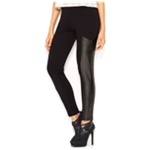 bar III Womens Faux-Leather Paneled Casual Leggings