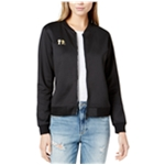 Boy Meets Girl Womens Embroidered-Logo Bomber Jacket