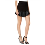 Chelsea Sky Womens Faux-Leather Trim Mini Flared Skirt