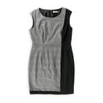 Calvin Klein Womens Colorblock Tweed Sheath Wrap Dress
