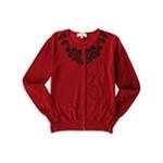 Carolyn Taylor Womens Embellished Cardigan Sweater