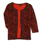 Rafaella Womens Chain trim Cardigan Sweater