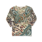 JM Collection Womens Embellished Paisley Pullover Blouse