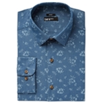 bar III Mens Denim Floral Button Up Dress Shirt