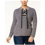 I-N-C Womens Lace Up Pullover Sweater